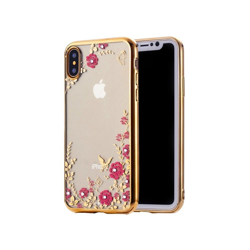 Capa Gel Frame Flores iPhone X / XS