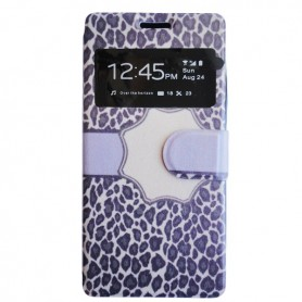 Capa Flip Leopardo Galaxy Core Plus