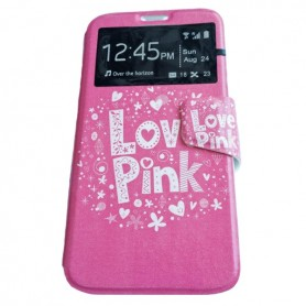 Capa Flip Janela Love Pink Galaxy Pocket 2 / Duos